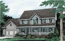 3 Bedroom Colonial Country House Plan - Country Farmhouse