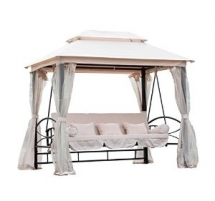 3 Person Patio Daybed Canopy Gazebo Swing - Outdoor Furniture