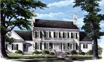 5 Bedroom Colonial House Plan - Country Farmhouse