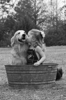 A Girl and her Golden Retriever - Pets