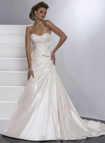 A-Line Teffeta Sleeveless Bridal Gown - My Wedding Dress