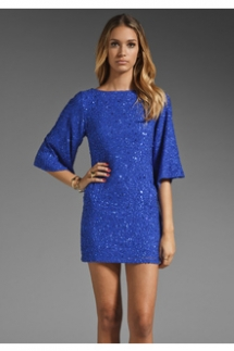 Alice + Olivia: Blue Lari Bell Sleeve Sequin Tunic Dress in Cobalt - My style