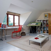 Attic office with red framed windows - Attic Space