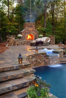 Backyard fireplace with hot tub & pool - Backyard ideas