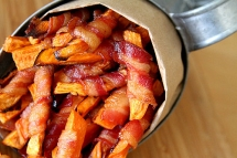 Bacon Wrapped Sweet Potato Fries - What's for dinner?
