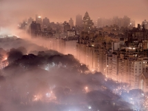 Beautiful New York City skyline glowing in fog - Beautiful places