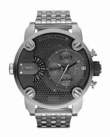 Black Chronograph Watch With Silver Bracelet - For him