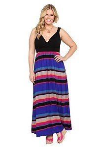 Black & Multicolor Maxi Dress - Fave Clothing