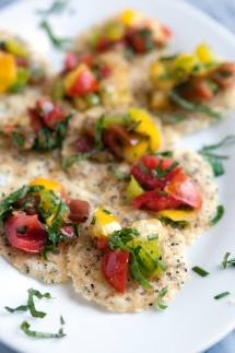 black pepper parmesan tuiles with heirloom tomato salad - Cooking