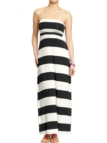 Black & White Striped Women's Convertible Maxi-Tube Dress - Spring Clothes Shopping
