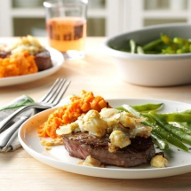 Blue Cheese-Crusted Sirloin Steaks - Cooking