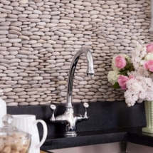 Stacked pebble for kitchen backsplash - Dream Kitchens