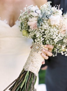 Beautiful brides bouquet with matching lace wrap and broach - Wedding Flower Ideas