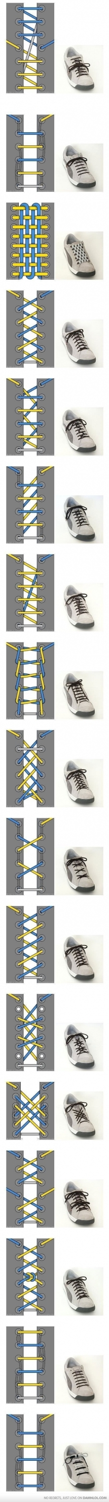 36 Cool Ways To Tie Your Shoe Laces - How to tie things