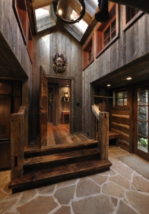Wood & Stone Foyer Entrance - Designing the house of my dreams