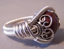 Wire wrapped gem ring - Rings