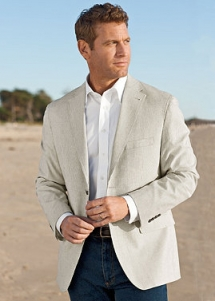 Cotton Tick-Stripe Sportcoat - Sportcoats