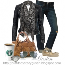 Outfit - leather jacket, destressed jeans, flats, scarf, large handbag  - My Style