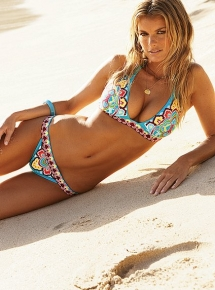 Boho print branded halter top and low-rise bikini bottom - Bathing Suits