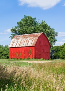 Brilliant Red Barn by Kenneth Keifer - Barns