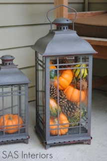 Bronze lantern painted with Gords - Decor for Thanksgiving