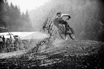 Brook Macdonald sailing through the mud in Champéry, Switzerland - Mountain Biking