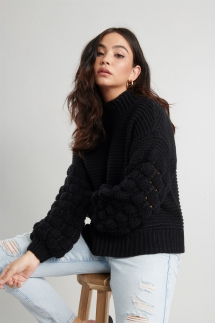 Bubble Sleeve Sweater - Comfy Clothes