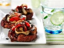 Bunless Bison Burger with Sautéed Vegetables - Cooking