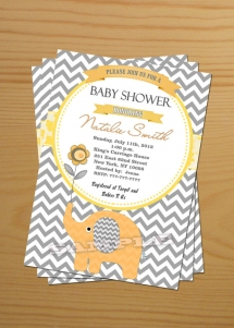 Chevron Baby Shower Invitation Boy FREE Thank You card included Baby Shower Invite - Party ideas