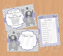 Chevron Baby Shower Invitations,  Wishes for Baby card, Thank You card - printable - Party ideas