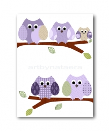 Childrens art kids wall art Baby Girl Room Decor owls - Home decoration