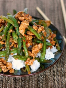 Chinese Green Beans with Ground Turkey over Rice - Cooking