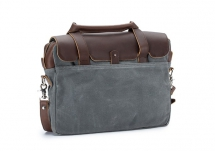 Classic Leather & Canvas Laptop Briefcase - Luggage & Bags