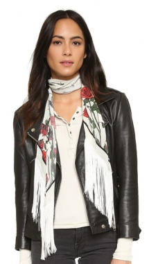 Classic Skinny Fringed Roses Silk Scarf by Rockins - Fave Clothing, Shoes & Accessories