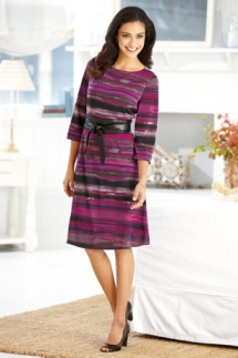 Clues Striped Sash Waist Dress - Fave Clothing