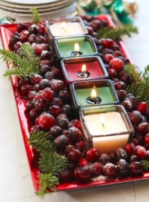 Cranberry Candles - Christmas Decoration