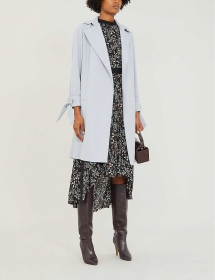 Cuff-tie Crepe Wrap Coat - Winter Wardrobe