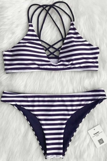 Cupshe Draw A Parallel Stripe Bikini Set - Swimsuits