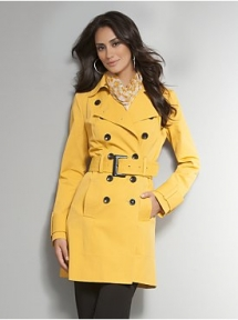 Double-Breasted Belted Trench Coat - mis outfits