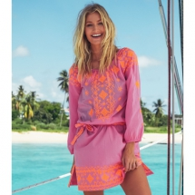 Elena Embroidered Cotton Kaftan from Aspiga - Sunny Fashion