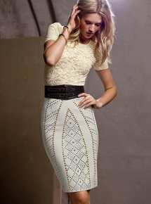 Embellished Pencil Skirt and Stretch Lace Top - Classic style
