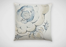 Ethan Allen Hand-Painted Blue and Taupe Floral Pillow - Dream Home Interior Décor