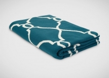 Ethan Allen Teal and Ivory Fretwork Throw - Dream Home Interior Décor
