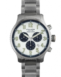 Filson Watches 43mm Mackinaw Field Chrono Watch with Link Bracelet, White - Watches