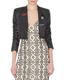 Fin Cropped Leather Multi-Zip Moto Jacket - Spring Wardrobe