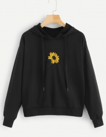 Floral Embroidery Hooded Sweatshirt - Comfy Clothes