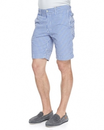 Forgione Check Seersucker Shorts Blue - Man Style
