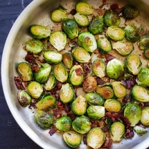 Garlic-Prosciutto Brussels Sprouts - Cooking
