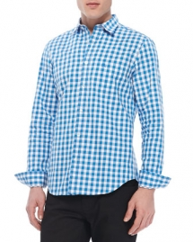Gingham Woven Long-Sleeve Shirt, Bright Opal - Man Style