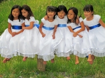 Girls in White Dresses With Blue Satin Sashes - My Favourite Things